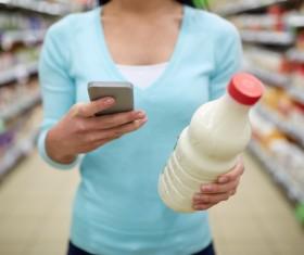 Supermarket woman buying food Stock Photo 12