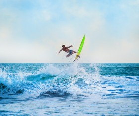 Surfing wave man Stock Photo 03
