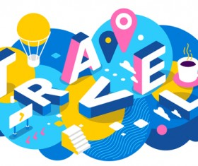 Travel 3d business words illustration vector