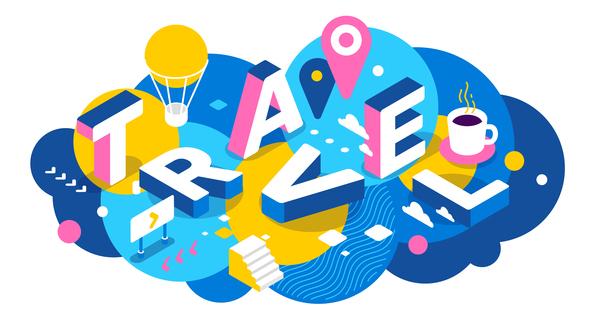 Travel 3d business words illustration vector