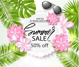 Tropical flower with summer sale background vector