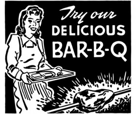 Try Our Delicious BBQ Hand drawn vector