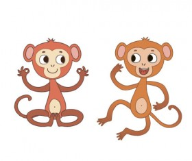 Two funny monkey vector