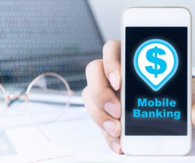 Use smartphone to login online banking Stock Photo 01