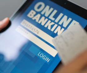 Use smartphone to login online banking Stock Photo 02