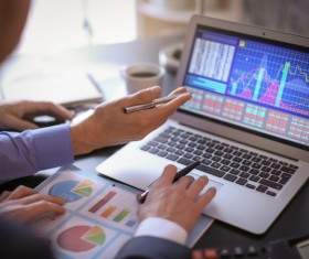 Using Tablet PC for Business Data Analysis Stock Photo 02