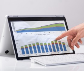 Using Tablet PC for Business Data Analysis Stock Photo 04