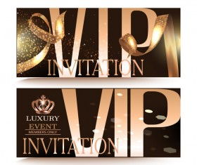 VIP Party banners with gold ribbon vectors