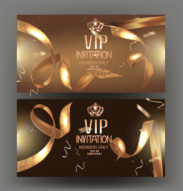 VIP golden banners with confetti and golden ribbons vector