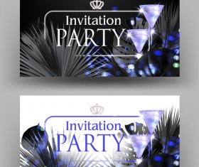 VIP invitation banners with monochrome tropical leaves vector