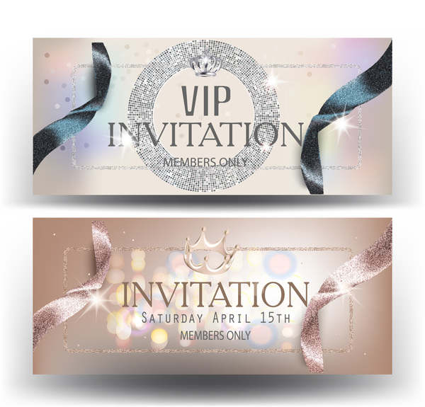VIP invitation banners with ribbons and luxurious elements vector