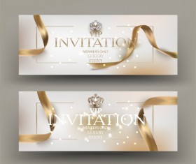 VIP invitation card with gold frame and ribbons vector