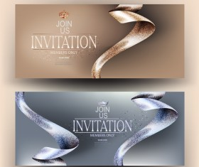 VIP invitation cards with beautiful ribbons vector