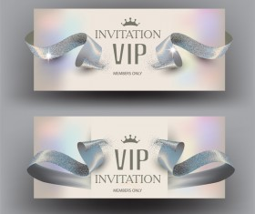 VIP invitation elegant cards with ribbons pearl vector