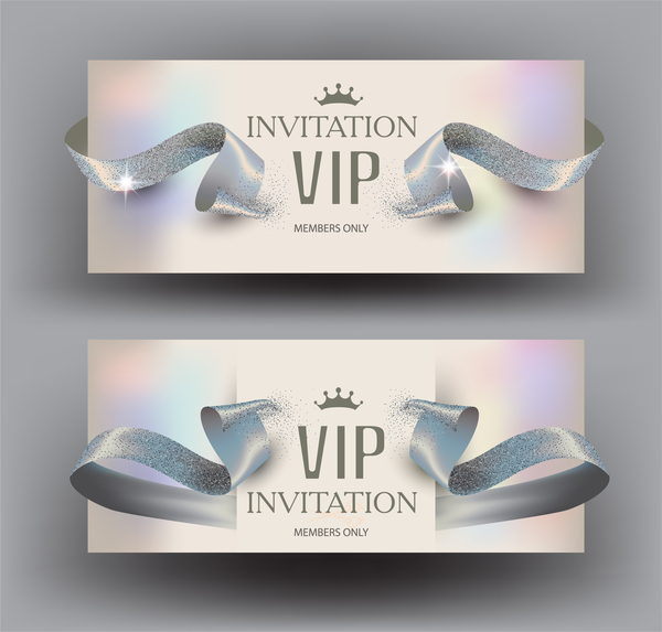 Vip invitation elegant cards with ribbons pearl vector free download vip invitation elegant cards with ribbons pearl vector stopboris Image collections