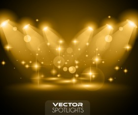 Vector spotlights golden effect 01