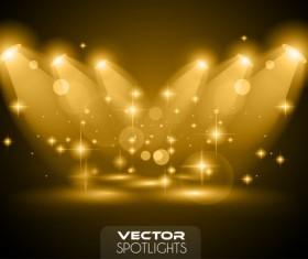 Vector spotlights golden effect 01