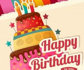 Vintage cake birthday background vector