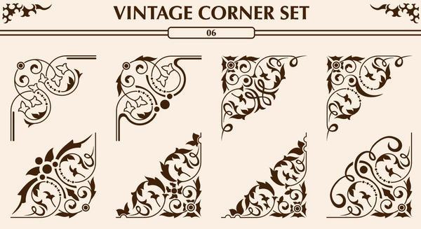 Vintage corner ornaments vectors