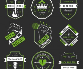 Vintage rock music green labels vector