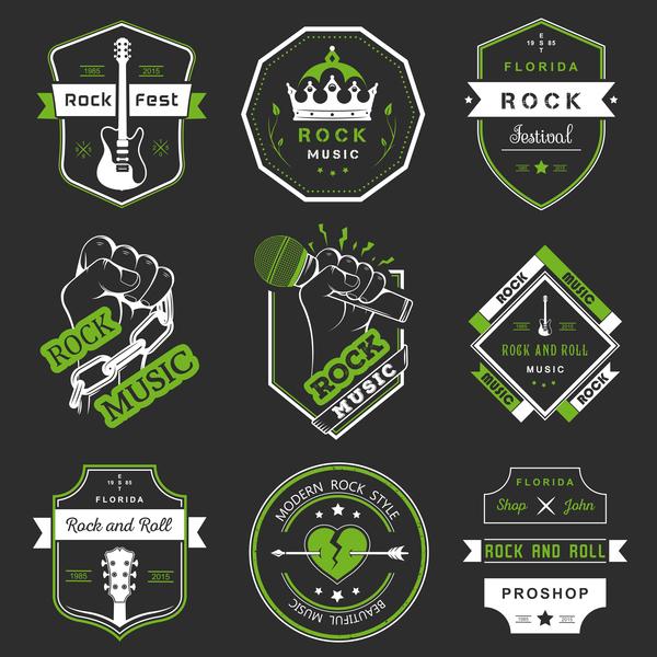 Vintage rock music green labels vector