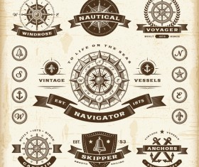Vintage skipper with marine labels vector