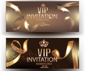 Vip elegant invitation cvards with gold beautiful ribbons vector