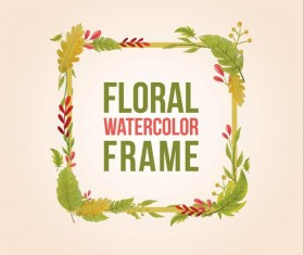 Watercolor leaves spring frame vector 01