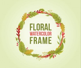 Watercolor leaves spring frame vector 02