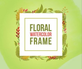 Watercolor leaves spring frame vector 03