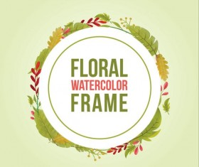 Watercolor leaves spring frame vector 04