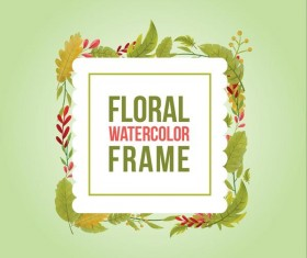 Watercolor leaves spring frame vector 05