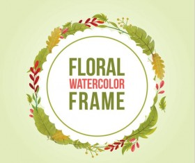 Watercolor leaves spring frame vector 06