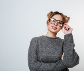 Wearing broad-brimmed glasses girl Stock Photo 01