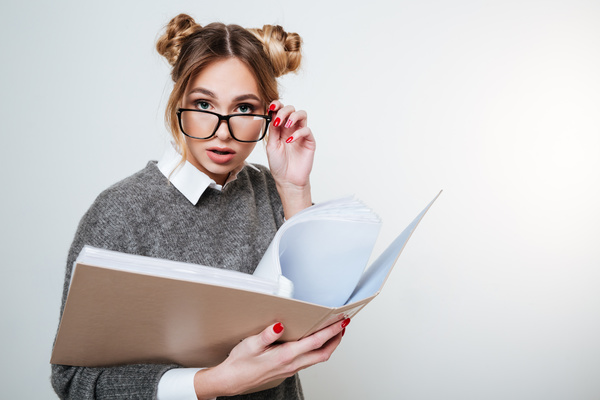 Wearing broad brimmed glasses girl looking information Stock Photo 03