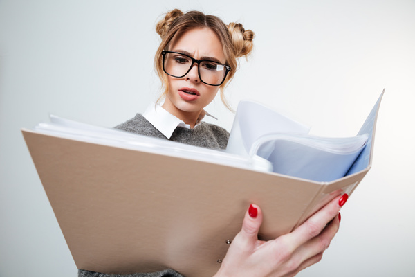 Wearing broad brimmed glasses girl looking information Stock Photo 04