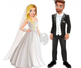 Wedding couple vector material