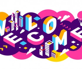 Welcome 3d business words illustration vector