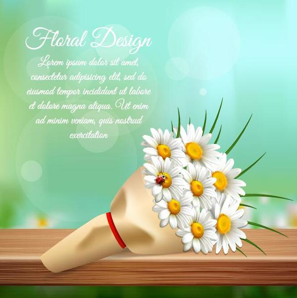 White flower bouquet vector