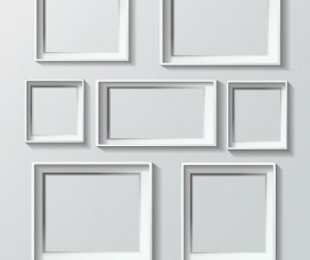 White photo frame design vector 02