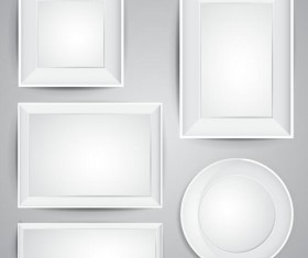 White photo frame design vector 03