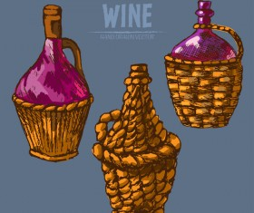 Wine hand drawn vector material 01