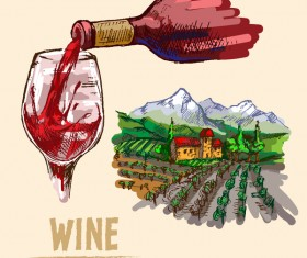 Wine hand drawn vector material 02