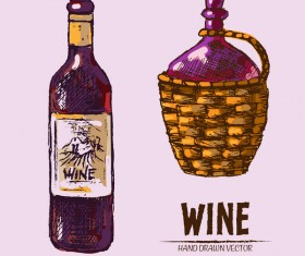 Wine hand drawn vector material 03