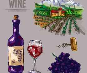 Wine hand drawn vector material 04
