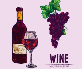 Wine hand drawn vector material 05