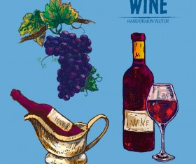 Wine hand drawn vector material 06