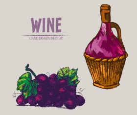 Wine hand drawn vector material 07