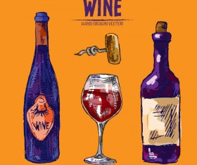 Wine hand drawn vector material 08