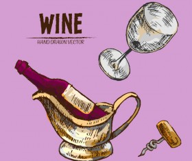 Wine hand drawn vector material 09